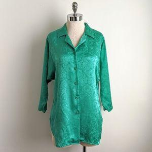vintage 80's satin floral dolman sleeve blouse